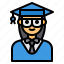 avatar, education, graduate, mortarboard, woman icon