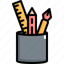 back to school, education, pen, pencil, ruler, school icon