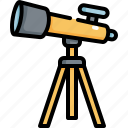 astronomy, back to school, education, galaxy, planet, space, telescope icon