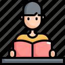 back to school, boy, education, equipment, learning, reading, school icon