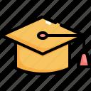 cap, certification, diploma, graduate, graduation icon