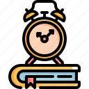 back to school, book, clock, education, equipment, school, time icon