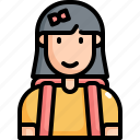 back to school, education, girl, learning, school, student icon