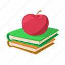 apple, book, cartoon, education, knowledge, school, stack icon