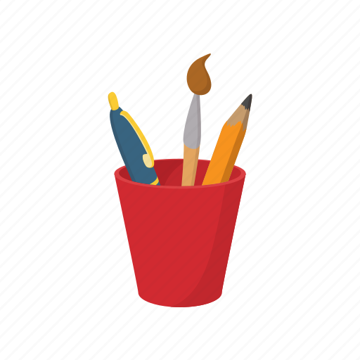 cartoon, color, cup, education, pen, pencil, school icon