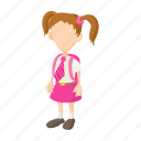 cartoon, education, girl, kid, school, student, uniform icon