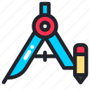 compass, geometry, math, school, stationary, study icon