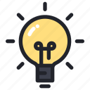 bulb, creative, idea, innovation, school icon