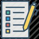 checklist, education, exam, school, test, writing