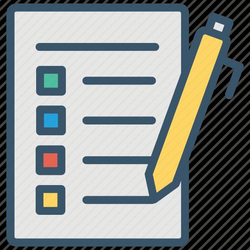 checklist, education, exam, school, test, writing icon