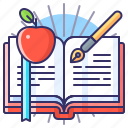 apple, book, education, school