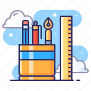 pen, ruler, stationery icon