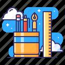 pen, ruler, stationery