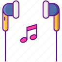 earphone, handsfree, music