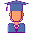 female, graduation, hat, student icon