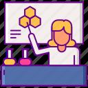 female, laboratory, teacher icon