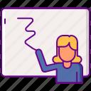 female, teacher, whiteboard icon