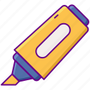 highlighter, marker, stationery icon