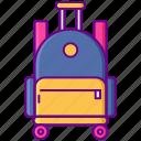 bag, rolling, school icon