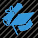 certificate, education, graduate, learn, school, scroll, study icon