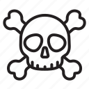 crossbones, danger, death, poison, skeleton, skull, toxic icon