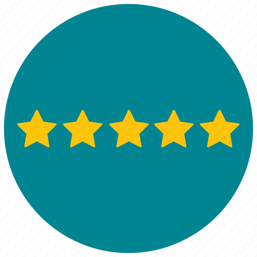 five, rating, star, votes icon