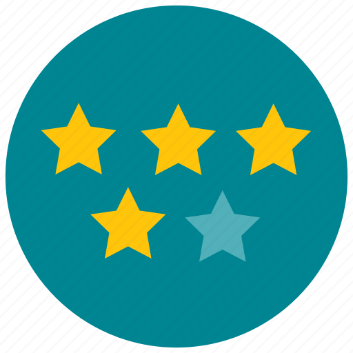 five, four, rating, star icon