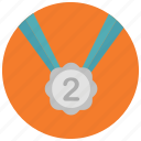 award, medal, place, reward, second icon
