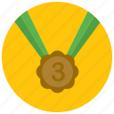 award, medal, place, reward, third icon