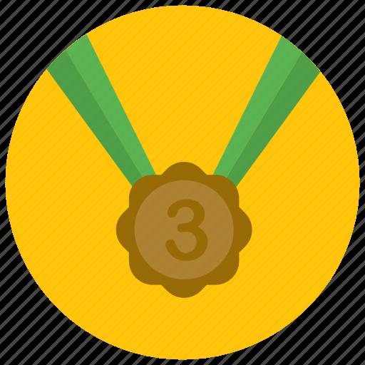 award, medal, place, reward, third icon