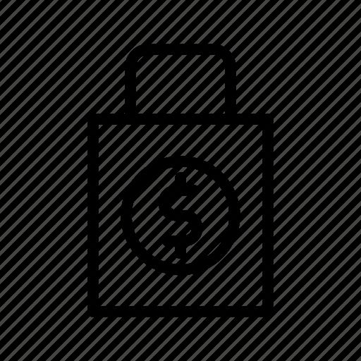 backpack, bag, dollar, shop, suitcase icon