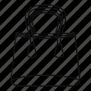 female, handbag, line, outline, shop bag, thin, woman icon