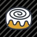 cinnamon bun, cinnamon roll, dessert icon