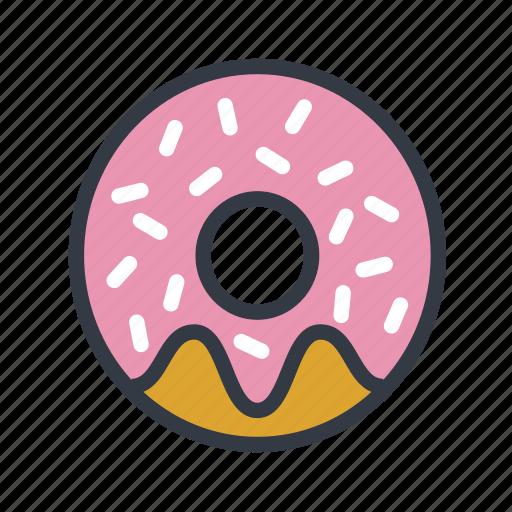 chocolate donut, dessert, donut, doughnut, sprinkles icon