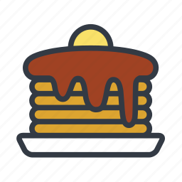 american breakfast, breakfast, hot cakes, pancakes icon
