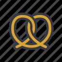 bakery, dessert, pretzel icon
