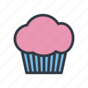 birthday, cupcake, dessert, fairy cake, frosting, icing, muffin icon