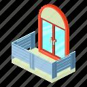 architecture, balcony, house, isometric, object, retro, window