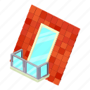 architecture, balcony, house, isometric, object, roof, window
