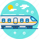 locomotive, rail, railroad, station, train, travel icon