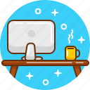computer, desk, imac, office, work, workplace, workspace icon