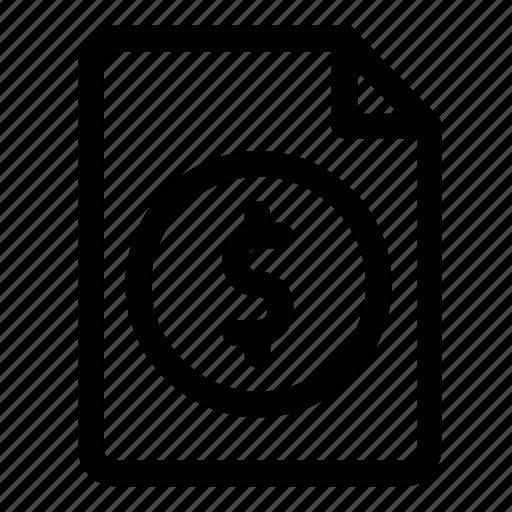 doc, dollar, file, money, page icon
