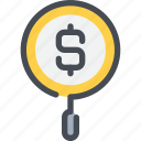 bank, business, money, research, search icon