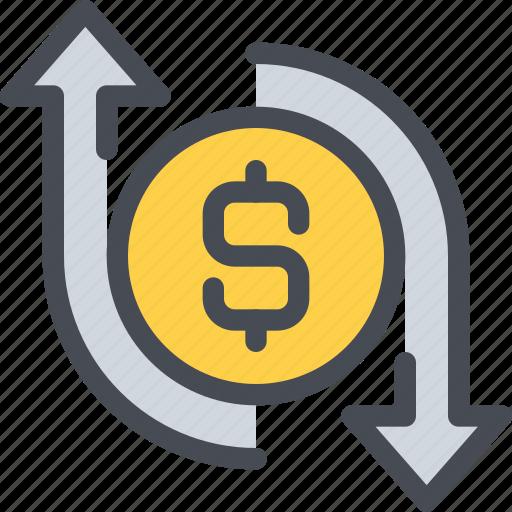 arrow, bank, business, exchange, money icon