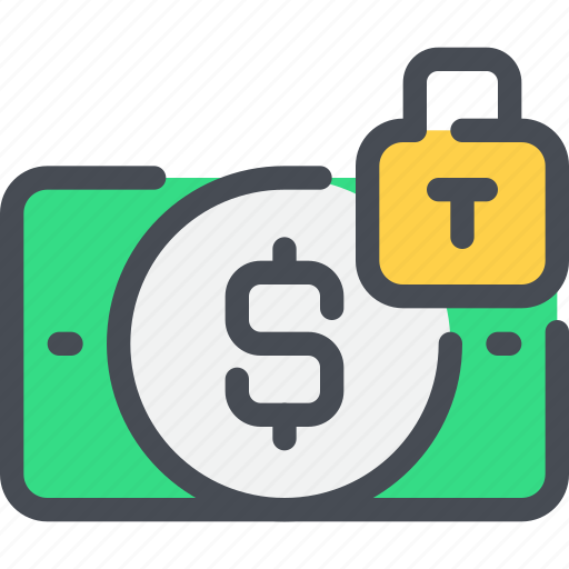 bank, banking, money, padlock, payment, secure, security icon