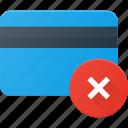 action, bank, card, disable, error icon