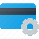 action, bank, card, gear, set, settings icon