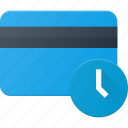 action, bank, card, delay, time, wait icon