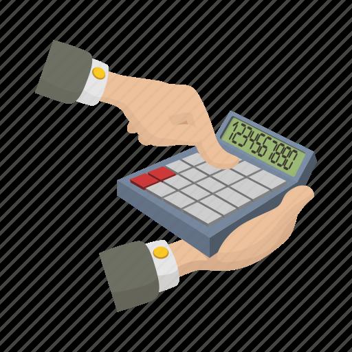 business, calculator, cartoon, electronic, hand, math, mathematics icon