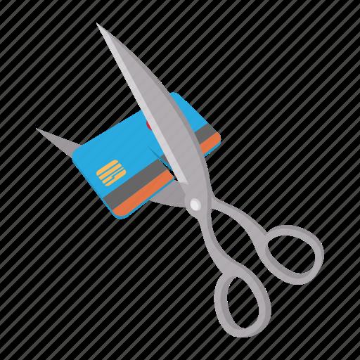 business, card, cartoon, credit, cut, finance, scissor icon
